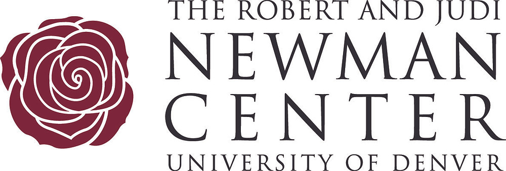 Logo: The Robert and Judi Newman Center, University of Denver. (A deep red rose.))