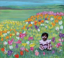 Alex in the Tulips