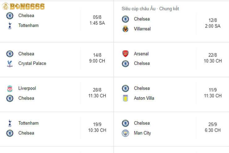 Lịch thi đấu của Chelsea trước mùa giải 2021 - 2022