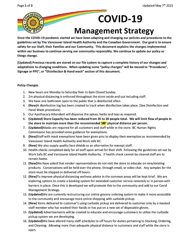 COVID19 Management Strategy Update 05-08