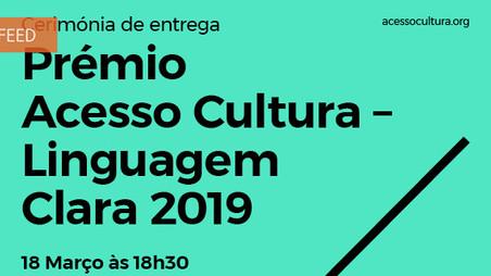Acesso Cultura: entrega do prémio Linguagem Clara 2019