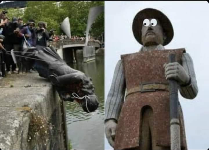 """""""Meme"""" retirado do Facebook: a estátua do bandeirante Borba Gato olha com medo para o derrube de Edward Colson."""