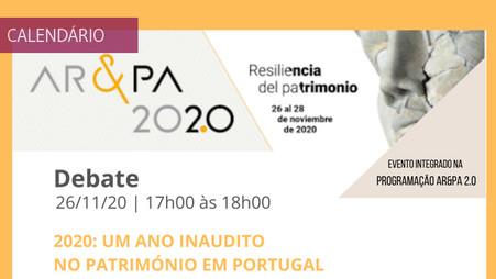 """Debate """"2020: um ano inaudito no património em Portugal"""""""