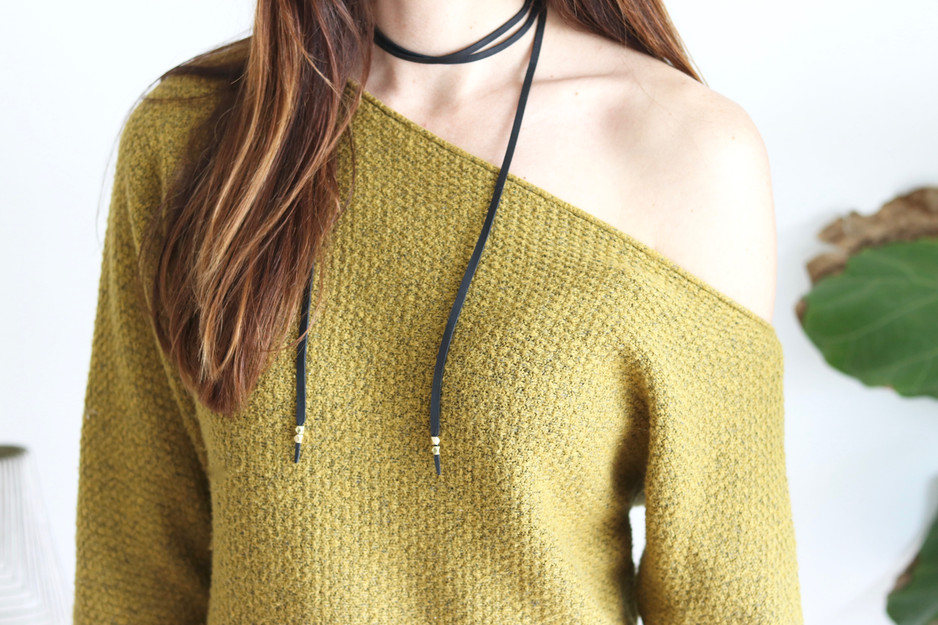 DIY LEATHER WRAP CHOKER NECKLACE