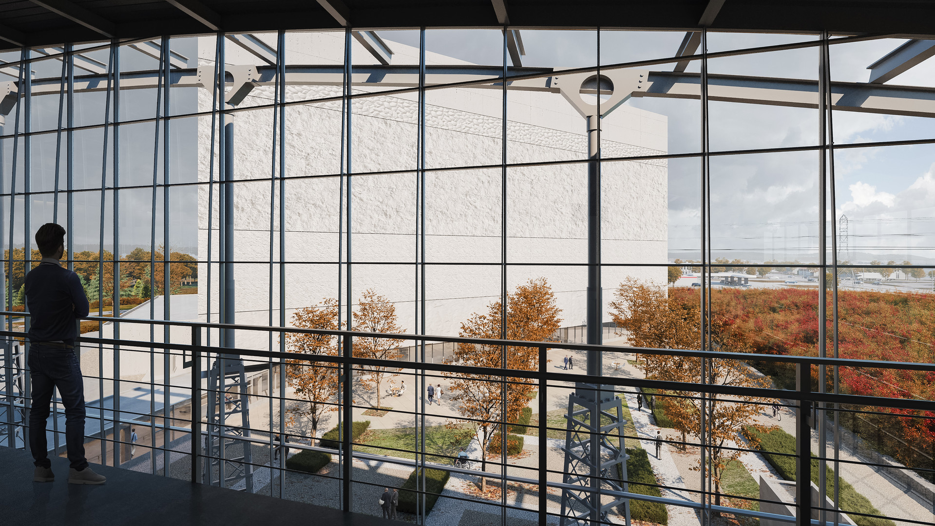 View from Level 5 work spaces in the Existing Preservation Centre towards Courtyard and Southeast Façade of the New Facility.