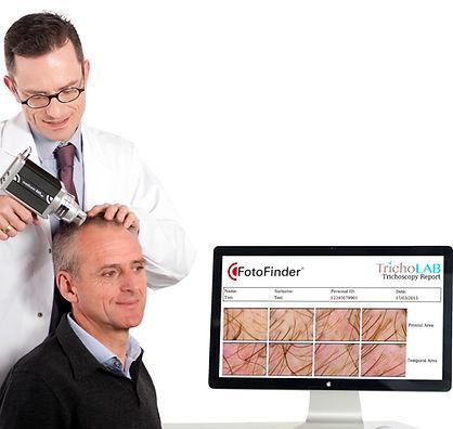 Exame de Tricoscopia do couro cabeludo - FotoFinder e Tricholab