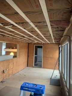 Drywalling the room, before