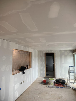 Drywalling the room, after