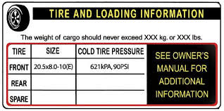 Example of a Tire Placard found on Diamond-Cargo's enclosed cargo trailers.