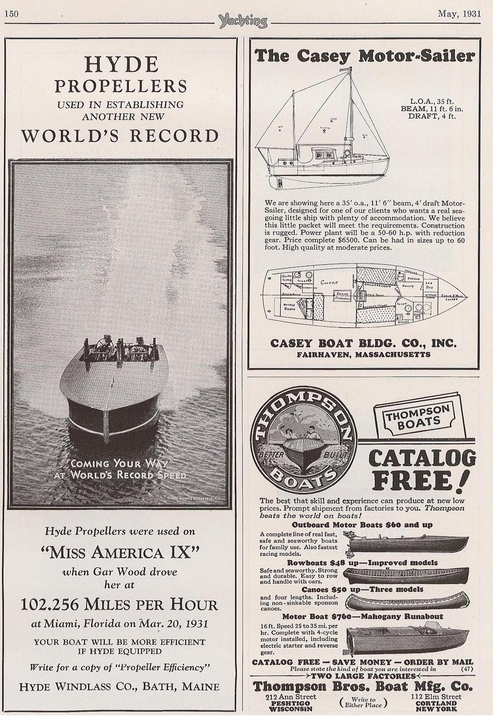 Miss America IX Ad 1931