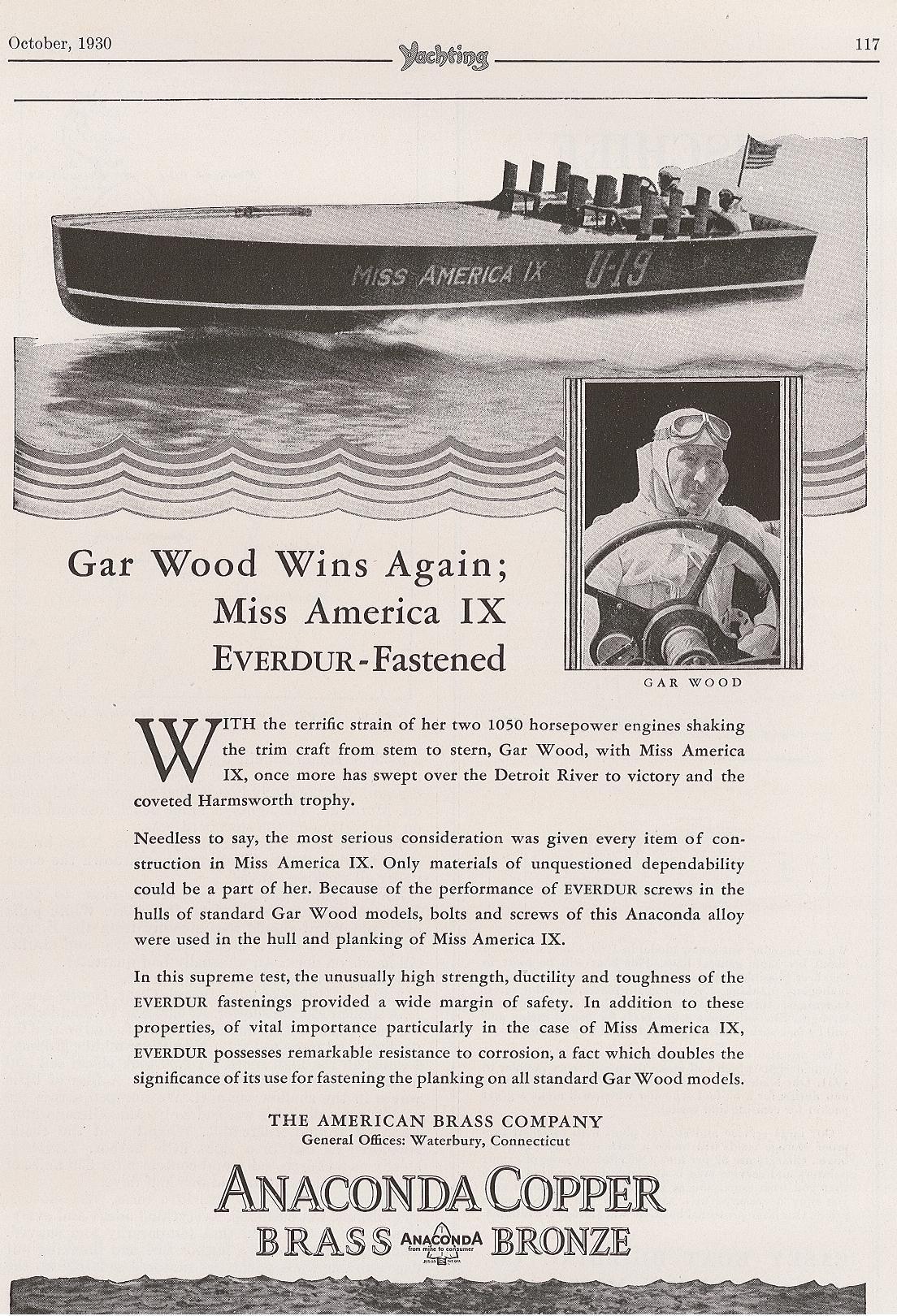 Miss America IX 1930 Ad