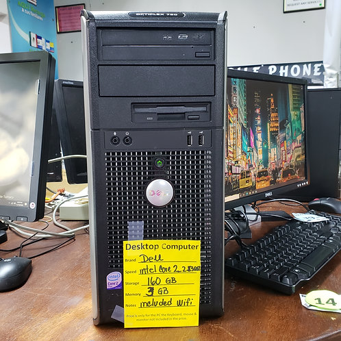 Dell Optiplex  760 Desktop - Intel Core Duo  - 3  gb ram - 160 gb  hd