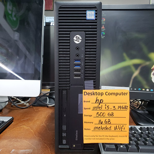 Hp EliteDesk   Desktop  -  Intel Core i5 - 16 gb ram  - 500 gb  hd
