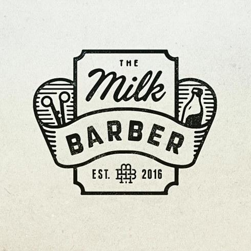 The Milk Barber Barbershop Logo Design
