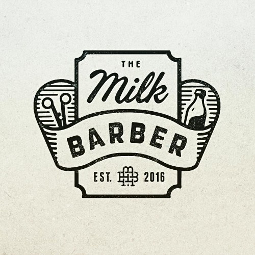 The Milk Barber Barbershop Logo Design