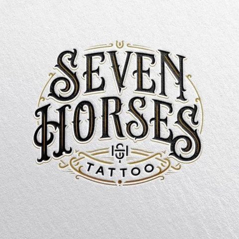 Seven Horses Tattoo Logo