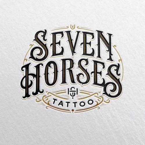 Seven Horses Tattoo Logo Design