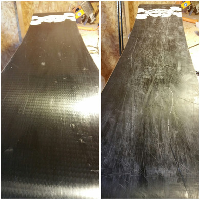 Snowboard before and after waxing
