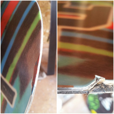 Snowboard edge repair and color match
