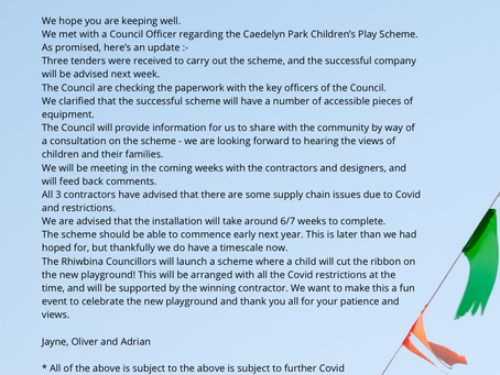 Latest on the Caedelyn Park Replacement Playground