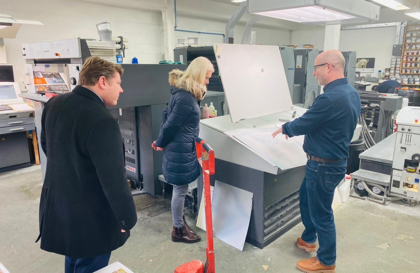 Dean Russell MP Watford with Amanda Milling at Printing Shop