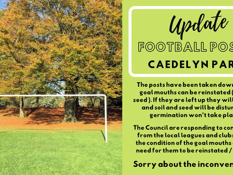 Update : Football Posts Caedelyn Park