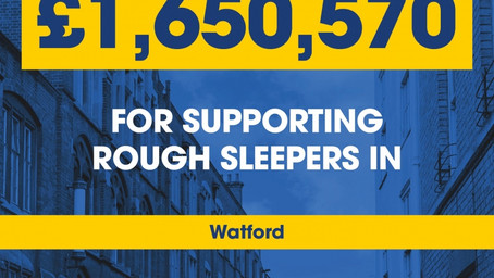 Watford Council to receive funding to help rough sleepers