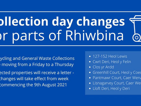 Collection Day Changes for parts of Rhiwbina