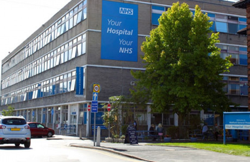 NHS Sign on hospital - Dean Russell MP Watford