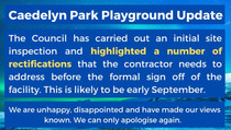 Update on Caedelyn Park Playground