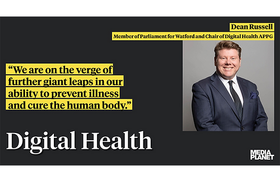 """""""We are on the verge of further giant leaps in our ability to prevent illness and cure the human body"""" headline with Dean Russel MP on Digital Health"""