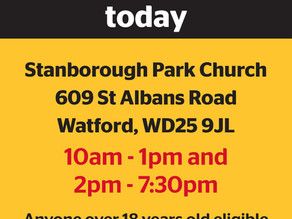 Stanborough Church opens as pop up Vaccination Centre