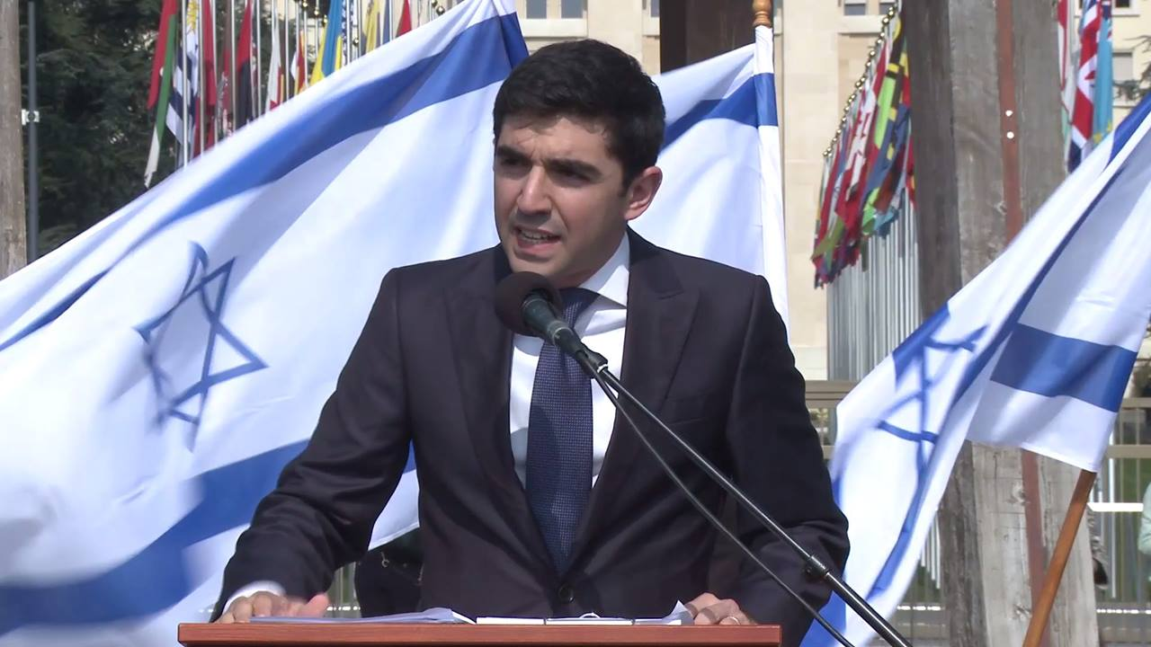 Gilad Kabilo, an IDF res. soldier, delivers a powerful speech against UN bias at the protest in Geneva against the UN's hypocrisy.