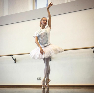 Iana Salenko wearing Ballet Papier Swan Queen T-shirt