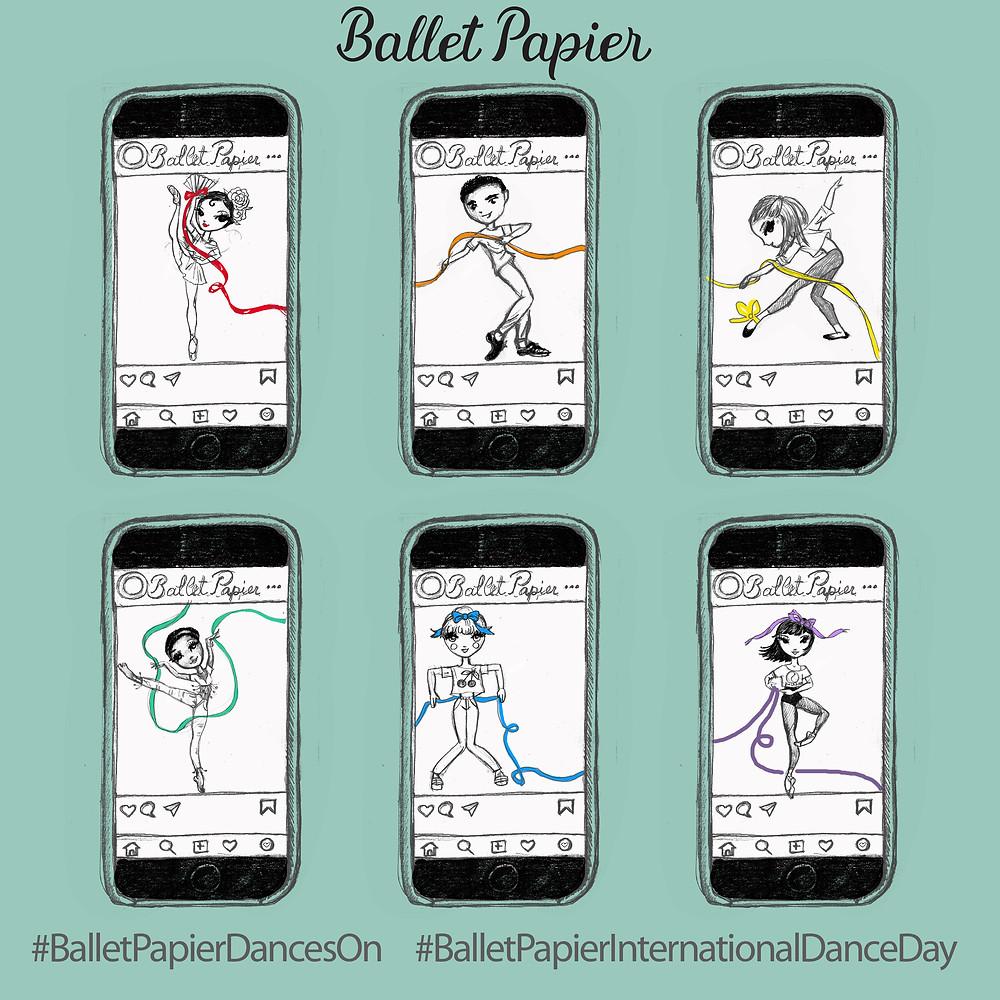 Ballet Papier Characters: Kitri Rosas, Basil de la Mancha, Stella, Esmeralda Dumas, Coppelia Pouppée and Lilac Fay Lee participating in the New Challenge!