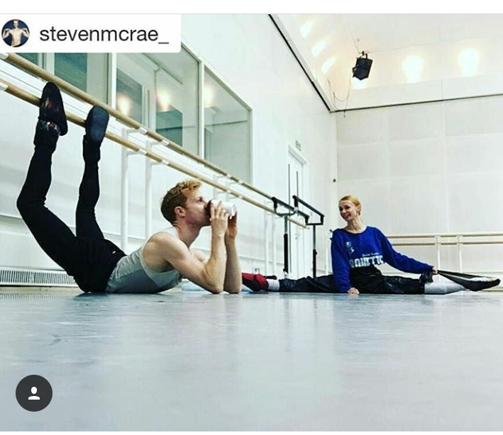 Iana Salenko wearing Ballet Papier Pirouette Pullover at Royal Ballet of London rehearsal with Steven McRae
