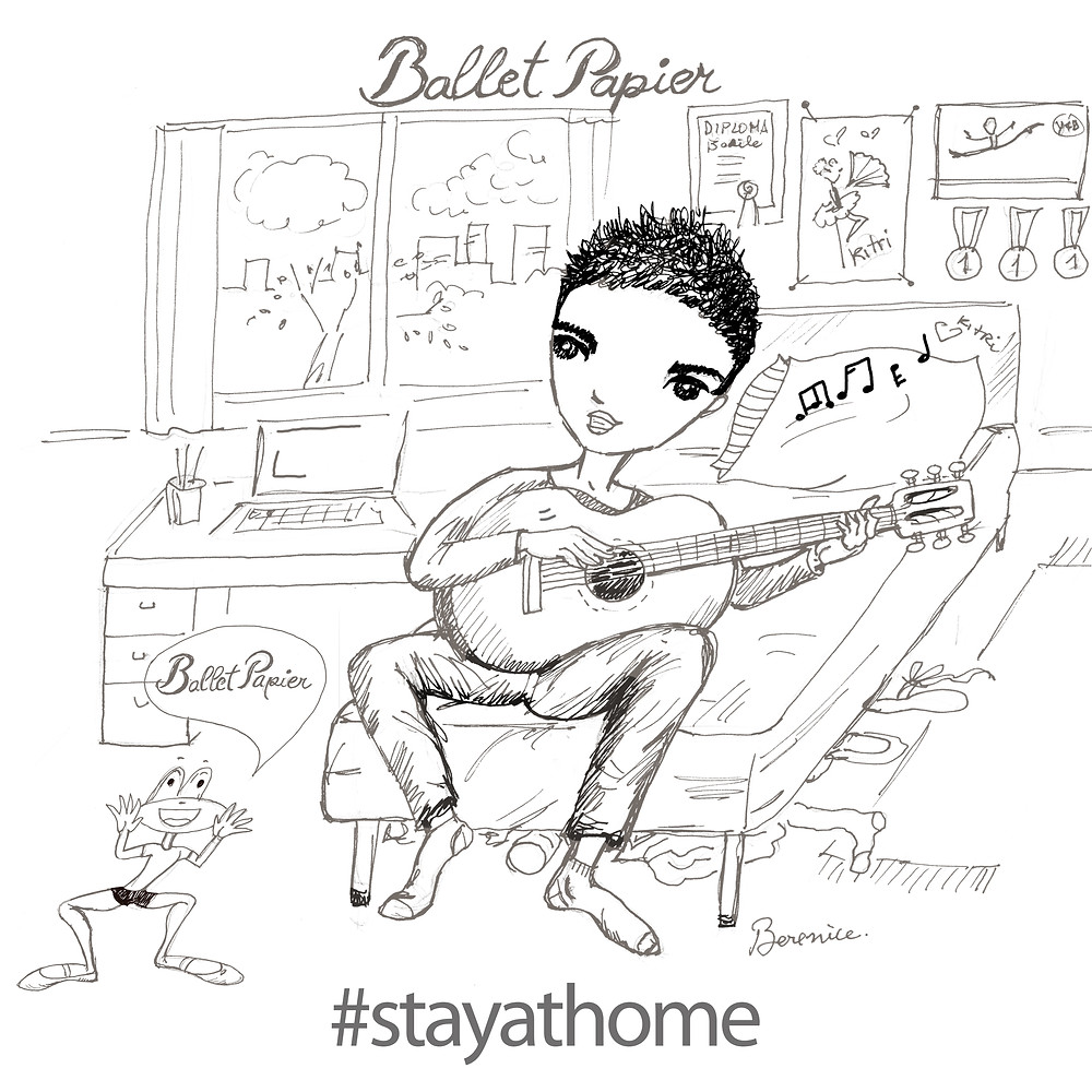 "Basil de la Mancha Sings ""Stay at Home"" song by Ballet Papier and his ballet pet Sapote dances!"