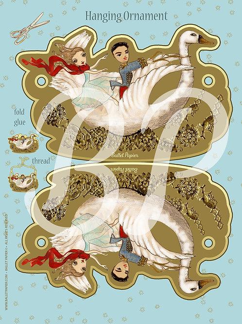 Clara and The Nutcracker Prince & Swan Christmas Ornament