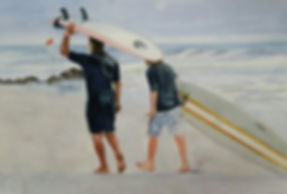 _The Surf Lesson_ - 12×18 watercolor - n