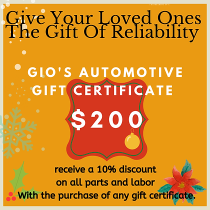 Gio's Automotive 200$ gift certificate