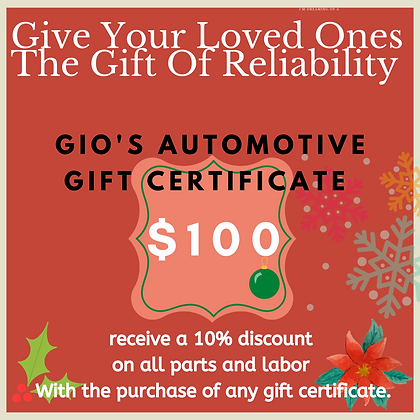 Gio's Automotive 100$ gift certificate
