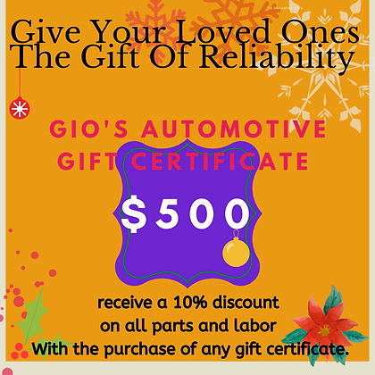 Gio's Automotive 500$ gift certificate