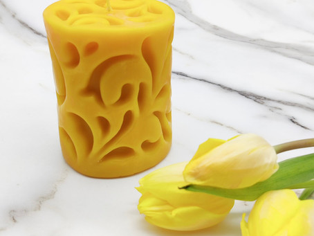 Beeswax candle bloom