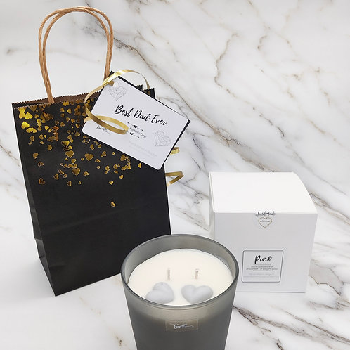 Rapeseed candle gift bag - large double-wick frosted grey