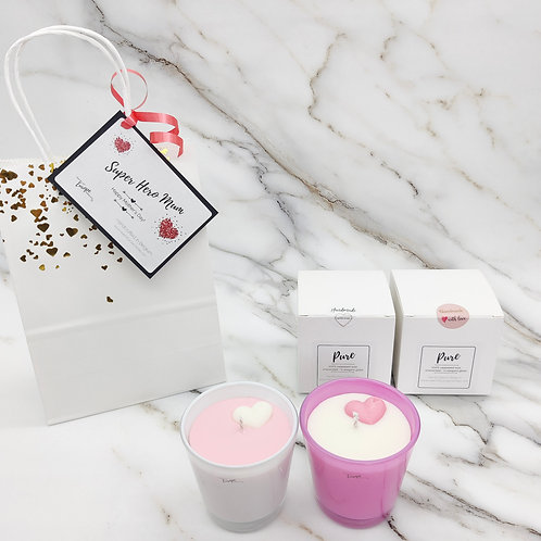 Pink heart rapeseed candle duo gift set