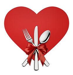 Valentine Silverware On Red Heart Shape