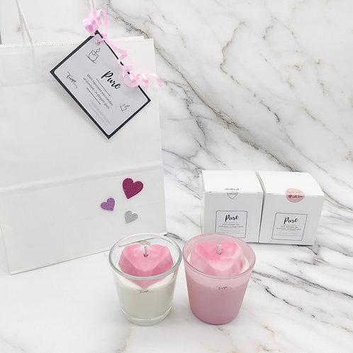 Geometric heart rapeseed candle duo gift set