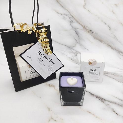 Rapeseed candle gift bag - black cube