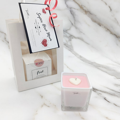 Rapeseed candle gift bag - white cube
