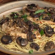 Pasta (Garlic, Chicken, Mushrooms)